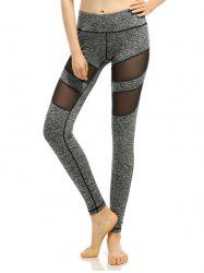 Heathered Mesh-Insert Stretchy Slimming Pants