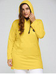 Plus Size Badge Pocket Splice Long Hoodie - YELLOW
