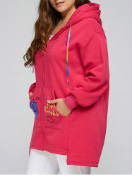 Plus Size Thick Zip Up Long Hoodie Coat - ROSE RED