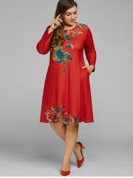 Plus Size Vintage Peony A Line Dress -