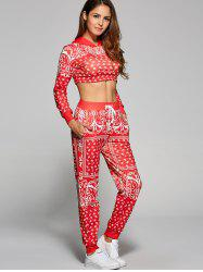 Print Cropped Hoodie and High Waisted Pants Set -