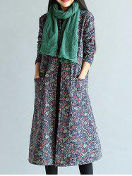 Floral Frog Button Maxi Coat