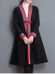 Embroidery Trim Frog Button Coat - BLACK