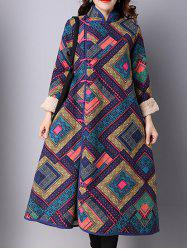 Frog Buttons Printed Maxi Coat