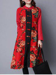 Printed Frog Button Long Coat - RED 2XL
