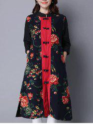 Printed Frog Button Long Coat