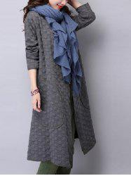 Collarless Open Front Duster Coat - GRAY 2XL