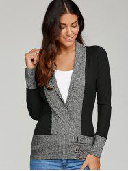 Buckle Embellished Surplice Blouse - BLACK AND GREY M