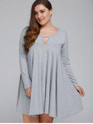 Long Sleeve Keyhole Plus Size Spring Casual Swing Dress