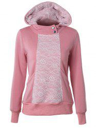 Casual Long Sleeve Lace Spliced Pullover Hoodie -
