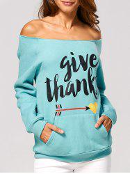 Off The Shoulder Letter Printed Sweatshirt