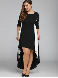 Color Block Plus Size High Low Maxi Carpet Prom Dress - BLACK