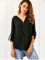 Zipper Up High Low Hem Blouse