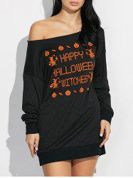 Skew Neck Pumpkin Letter Print Hallowmas Mini Dress -
