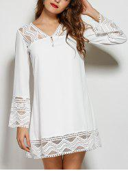 V Neck Hollow Out Lace Spliced Mini Shift Dress - WHITE