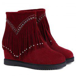 Hidden Wedge Fringe Rhinestones Ankle Boots