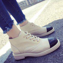 Colour Block Splicing Lace-Up Ankle Boots