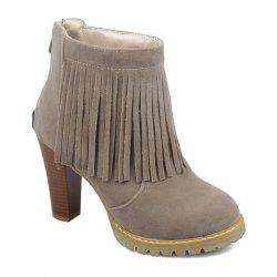 Back Zip Chunky Heel Fringe Ankle Boots