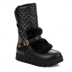 Buckle Strap Argyle Pattern Snow Boots