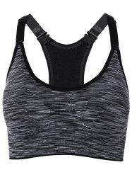 Cut Out Padded Strappy Racerback Sports Bra - GRAY