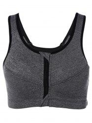 Cut Out Zipper Sports Bra - GRAY