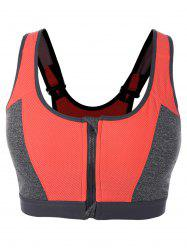 Color Block Zipper Sports Bra