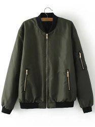 Zip Up Padded Bomber Jacket - ARMY GREEN 2XL