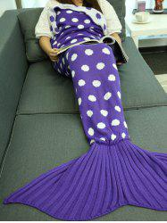Comfortable Polka Dot Knitted Sleeping Bag Mermaid Tail Blanket -