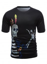 Skull 3D Printed Short Sleeve Round Neck T-Shirt - BLACK XL
