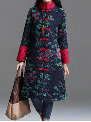 Printed Longline Quilted Coat