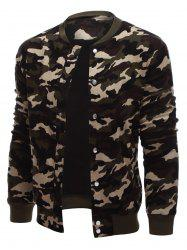 Rib Cuff Snap Button Up Camo Jacket - ARMY GREEN CAMOUFLAGE