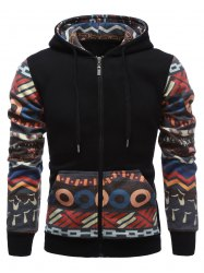 Tribal Print Drawstring Zip Up Hoodie