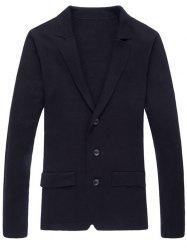 Notch Lapel Faux Flap Pocket Texture Cardigan - BLACK 2XL