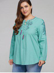 Plus Size Embroidered Lace Up Tassel Linen Top -