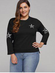 Plus Size Star Embroidered Short Sleeve Sweatshirt - BLACK