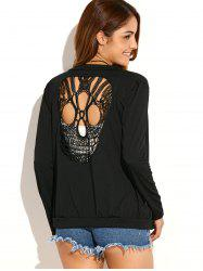 Halloween Skull Crochet Cardigan - BLACK XL