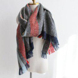 Color Block Zig Zag Stripe Fringe Knitted Scarf