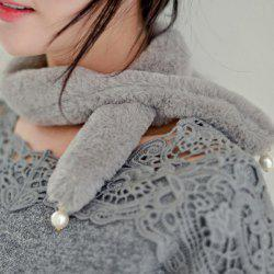 Faux Pearl Beaded Cute Plush Scarf