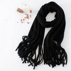 Braided Long Knitted Fringe Scarf -