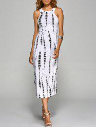 Jewel Neck Tie-Dyed Back Cut Out Bodycon Midi Dress -