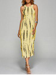 Jewel Neck Tie-Dyed Back Cut Out Bodycon Midi Dress