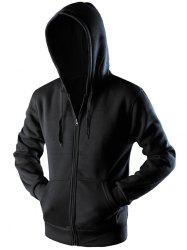 Sportive Zipper Up Pocket Hoodie - BLACK