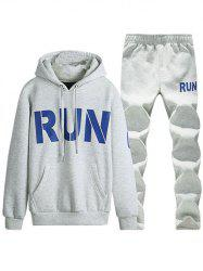 Kangaroo Pocket Run Printed Pullover Hoodie Twinset - LIGHT GRAY 4XL