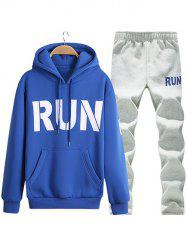 Kangaroo Pocket Run Printed Pullover Hoodie Twinset