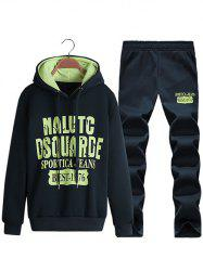 Pullover Letter Printed Hoodie + Sweatpants Twinset - CADETBLUE 4XL