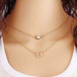 U-Shaped Horseshoe Rhinestone Layered Necklace - GOLDEN