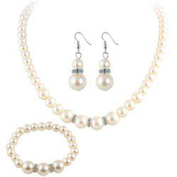 Faux Pearl Beaded Necklace Bracelet and Earrings