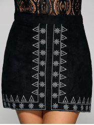 Sun and Small Tree Embroidery Faux Suede Skirt -