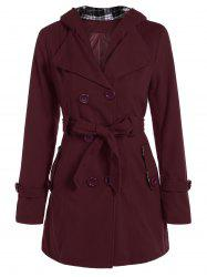 Hooded Double Breasted Belted Long Trench Coat - WINE RED