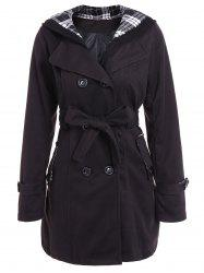 Hooded Double Breasted Belted Long Trench Coat